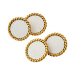 Cartier Gold and Enamel Dress Set, view of cufflinks