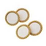 Cartier Gold and Enamel Dress Set, view of cufflinks