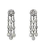main view, Diamond Festoon Pendant Earrings