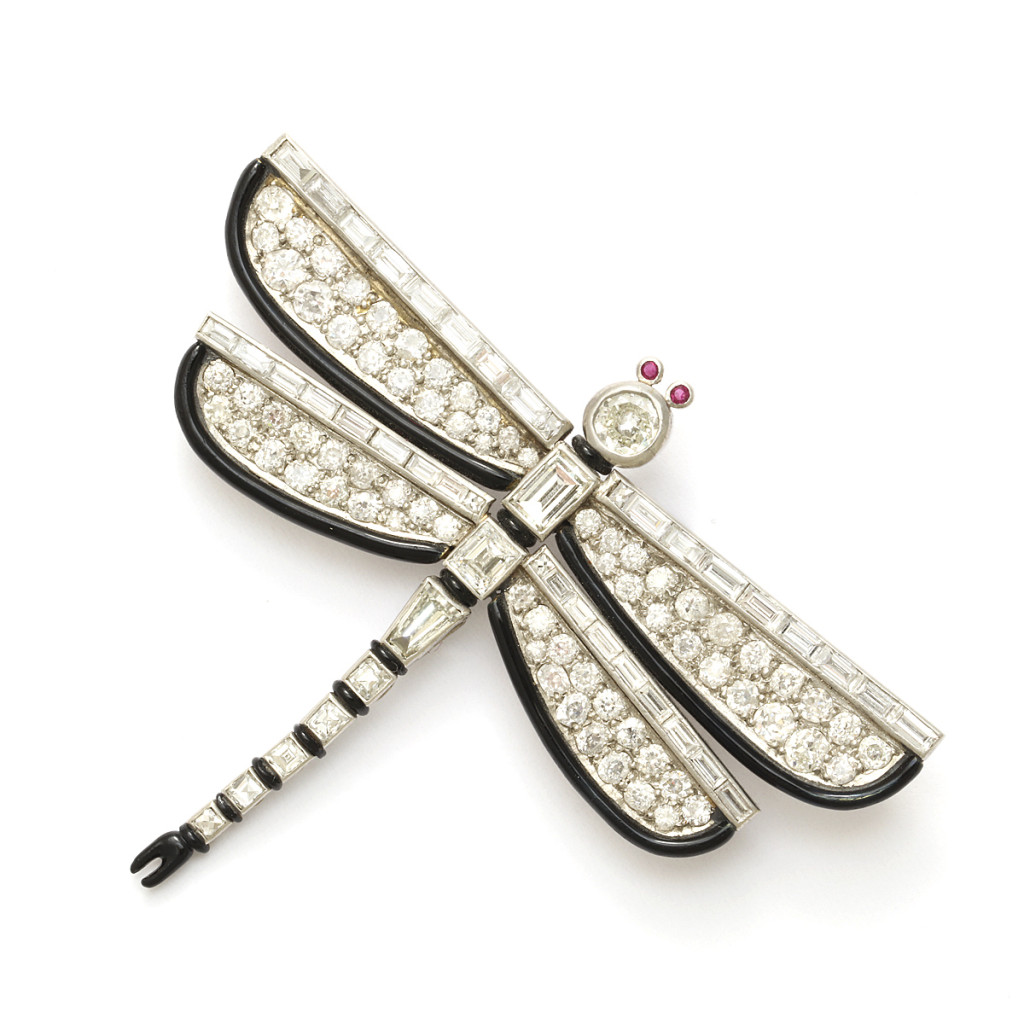 Art Deco Diamond and Enamel Dragonfly Brooch by Janesich