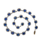 main view, English Antique Sapphire and Diamond Cluster Necklace
