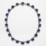 Antique Sapphire and Diamond Cluster Necklace