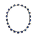 full view, English Antique Sapphire and Diamond Cluster Necklace