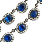 detail view, English Antique Sapphire and Diamond Cluster Necklace