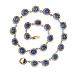 back view, English Antique Sapphire and Diamond Cluster Necklace
