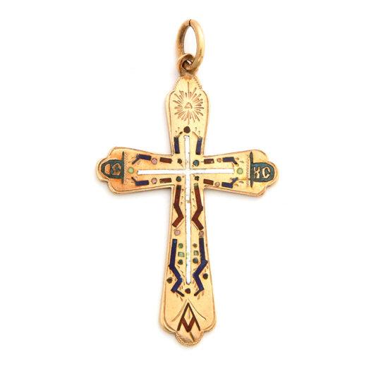 main view, Antique Gold and Enamel Cross Pendant