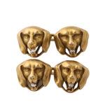 main view, Gold and Diamond Dog Head Cufflinks