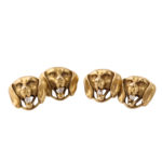 other view, Gold and Diamond Dog Head Cufflinks