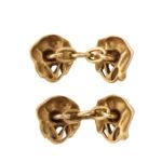back view, Gold and Diamond Dog Head Cufflinks