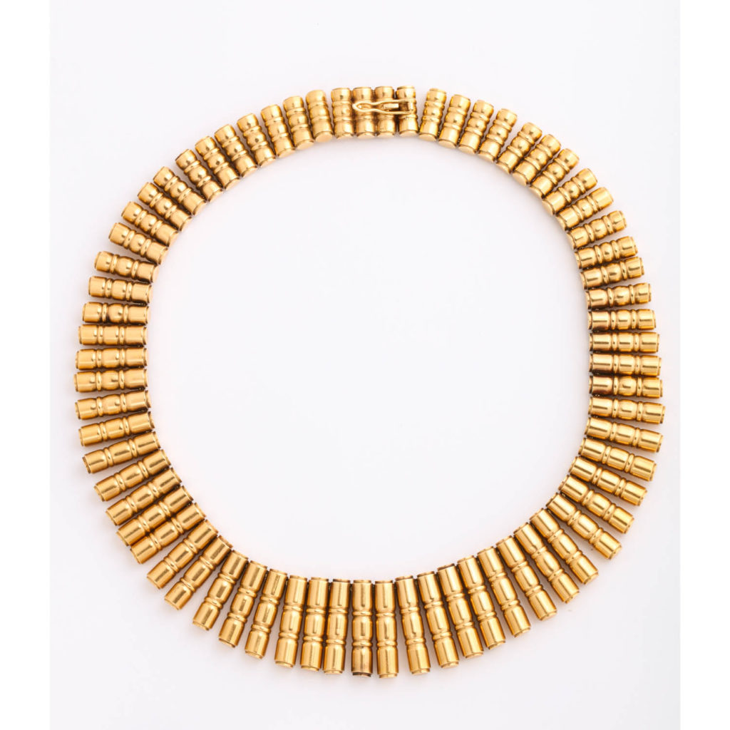 main view, 18kt Gold 1950s Bamboo-form Fringe Necklace