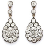main view, Victorian Diamond Cluster Drop Earrings