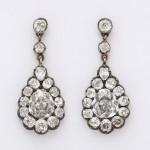 Victorian Diamond Cluster Drop Earrings