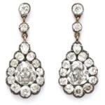 main view, Victorian Diamond Cluster Drop Earrings
