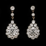 Alternative view, Victorian Diamond Cluster Drop Earrings