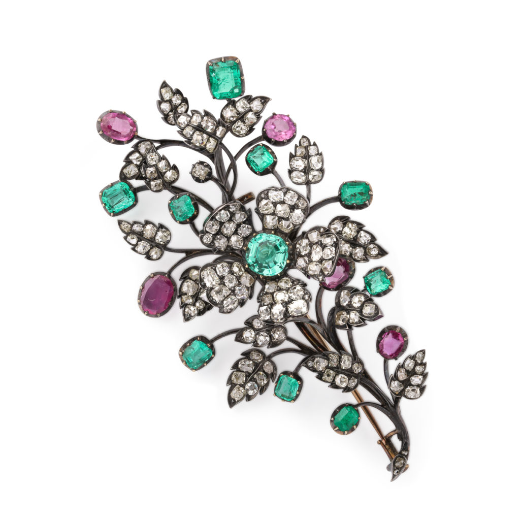 main view, Antique Diamond, Ruby, Emerald Floral Spray Brooch