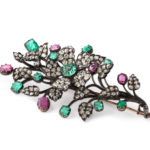 other view, Antique Diamond, Ruby, Emerald Floral Spray Brooch