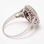 Art Deco Natural Burmese Ruby and Diamond Ring, back