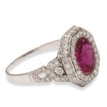 other view, Art Deco Natural Ruby and Diamond Ring