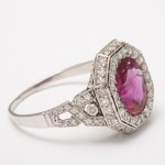 Art Deco Natural Burmese Ruby and Diamond Ring, side