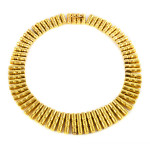 18kt Gold 1950s American Bullet-Style Fringe Necklace