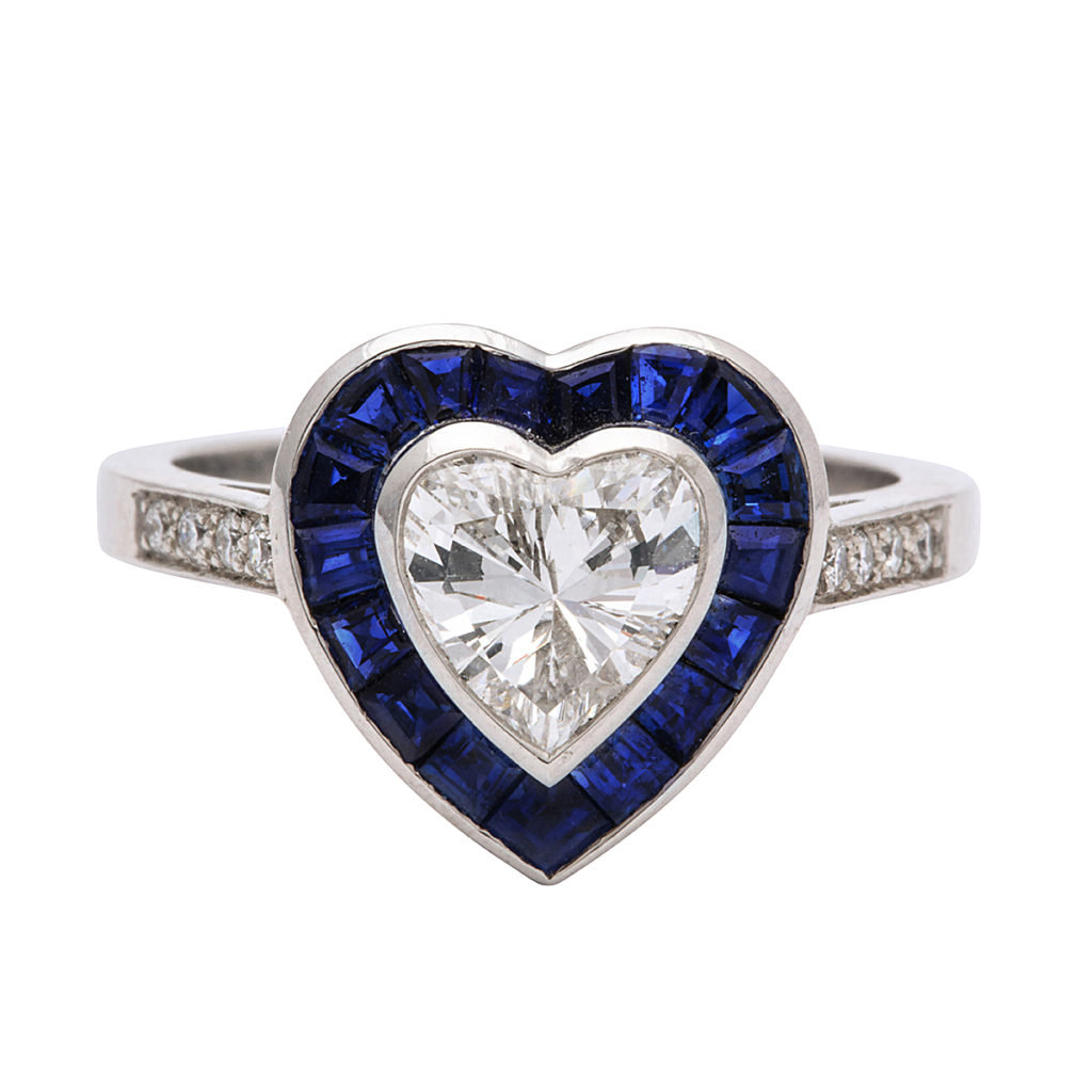 main view, Sapphire and Diamond Heart Ring