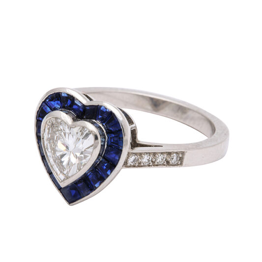 side view, Sapphire and Diamond Heart Ring