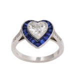 additional view, Sapphire and Diamond Heart Ring