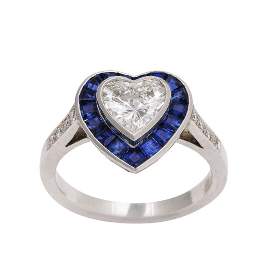 extra view, Sapphire and Diamond Heart Ring