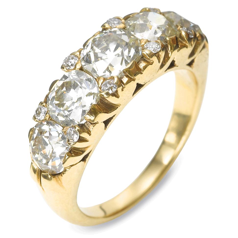 Victorian Old-mine Diamond Five-stone Ring