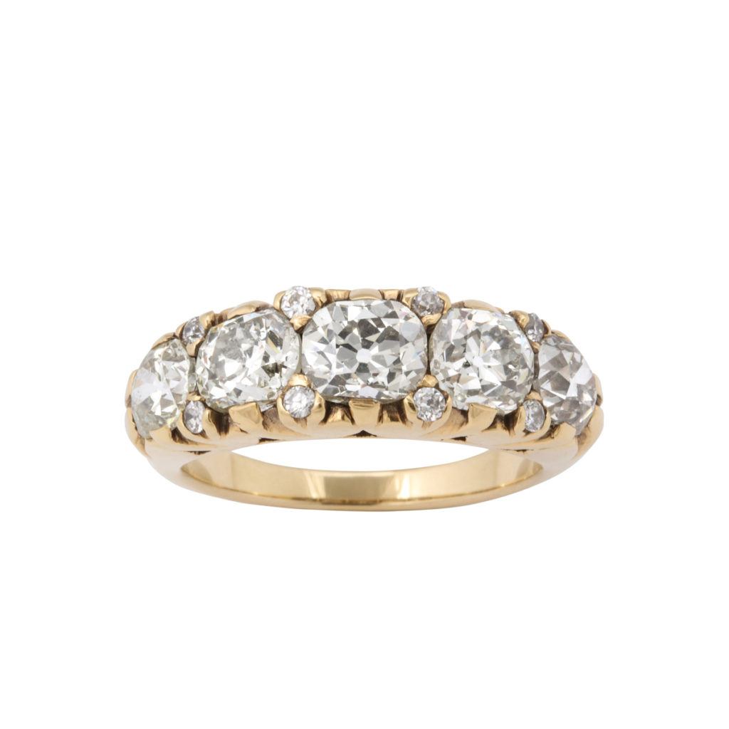 top view, Victorian Old-mine Diamond Five-stone Ring