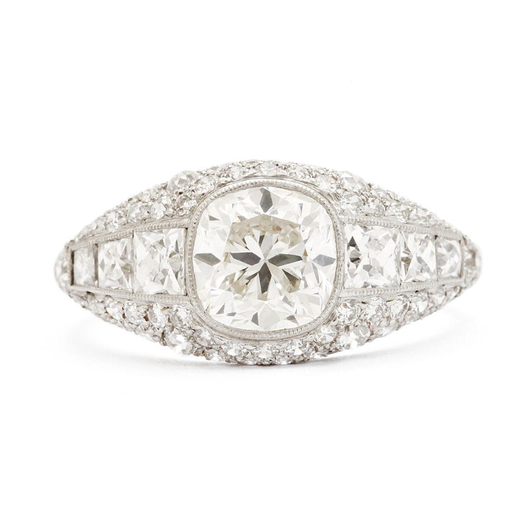 main view, Cushion-cut Antique Diamond Bombé Ring