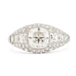 main view, Cushion-cut Antique Diamond Bombé Ring