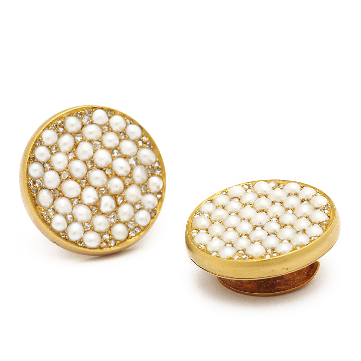 main view of Antique Russian Pearl and Diamond Cufflinks