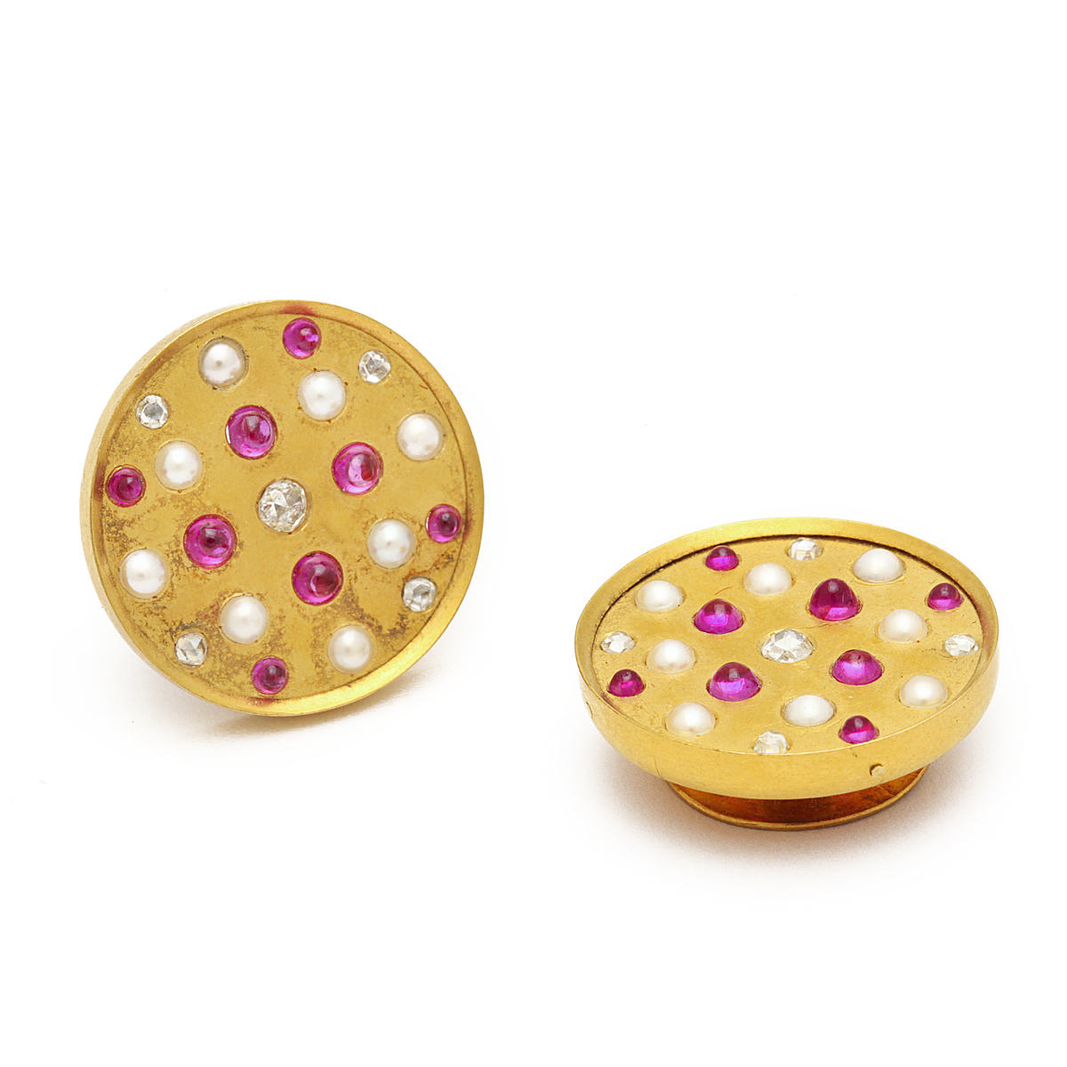 main view of Antique Russian Pearl, Ruby, and Diamond Cufflinks