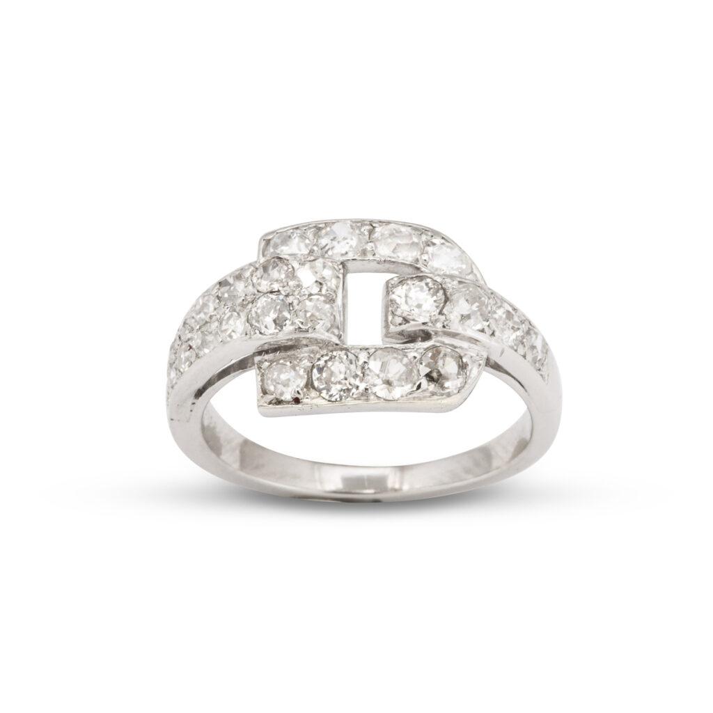 main view, Cartier Diamond Buckle Ring
