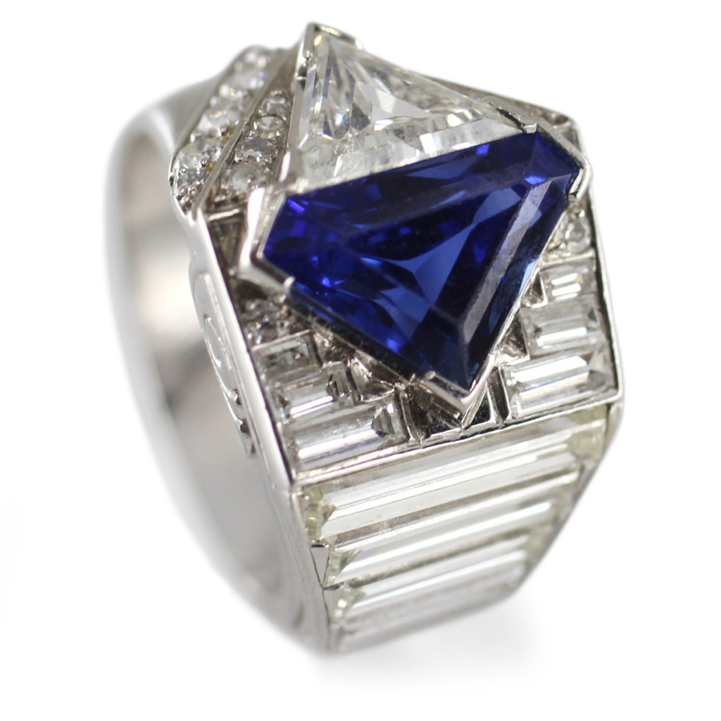 main view, Diamond and Fancy-cut Sapphire Ring