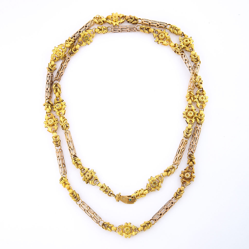 full view, Antique Gold Chain with Hand Clasp