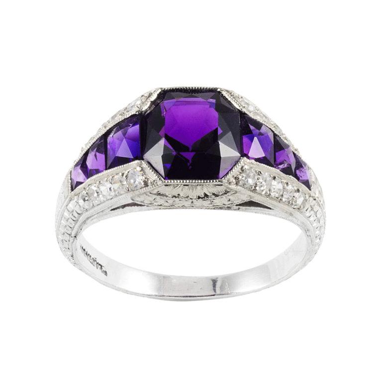 main view, Edwardian Amethyst and Diamond Ring