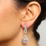 model wearing 1920s Diamond Drop Earrings