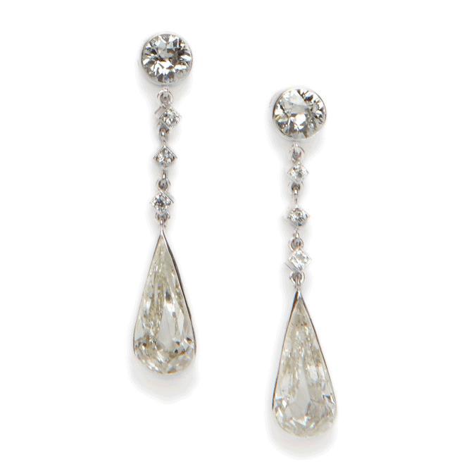 Diamond Tear Drop Earrings