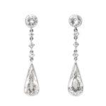 main view, Antique Diamond Tear Drop Earrings