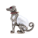other view, Antique Baroque Pearl and Diamond Dog Figurine and Pendant