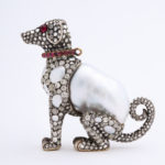 alternate view, Baroque Pearl and Diamond Dog Figurine
