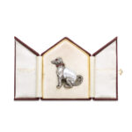 doghouse-shaped box photo, Antique Baroque Pearl and Diamond Dog Figurine and Pendant