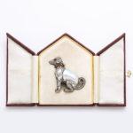 Baroque Pearl and Diamond Dog Figurine, dog house box