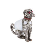 main view, Antique Baroque Pearl and Diamond Dog Figurine and Pendant