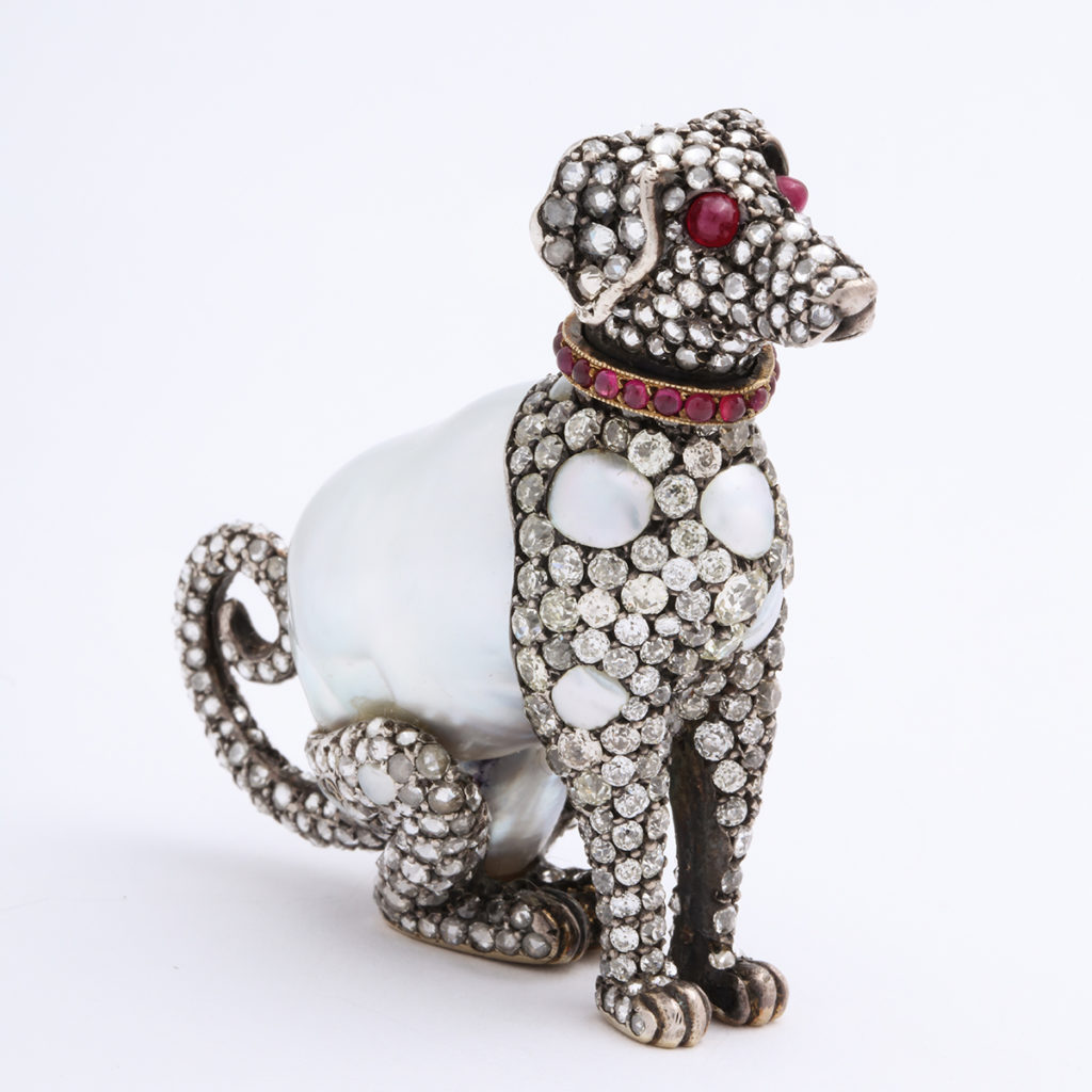 Pearl and Diamond Dog Figurine, side view