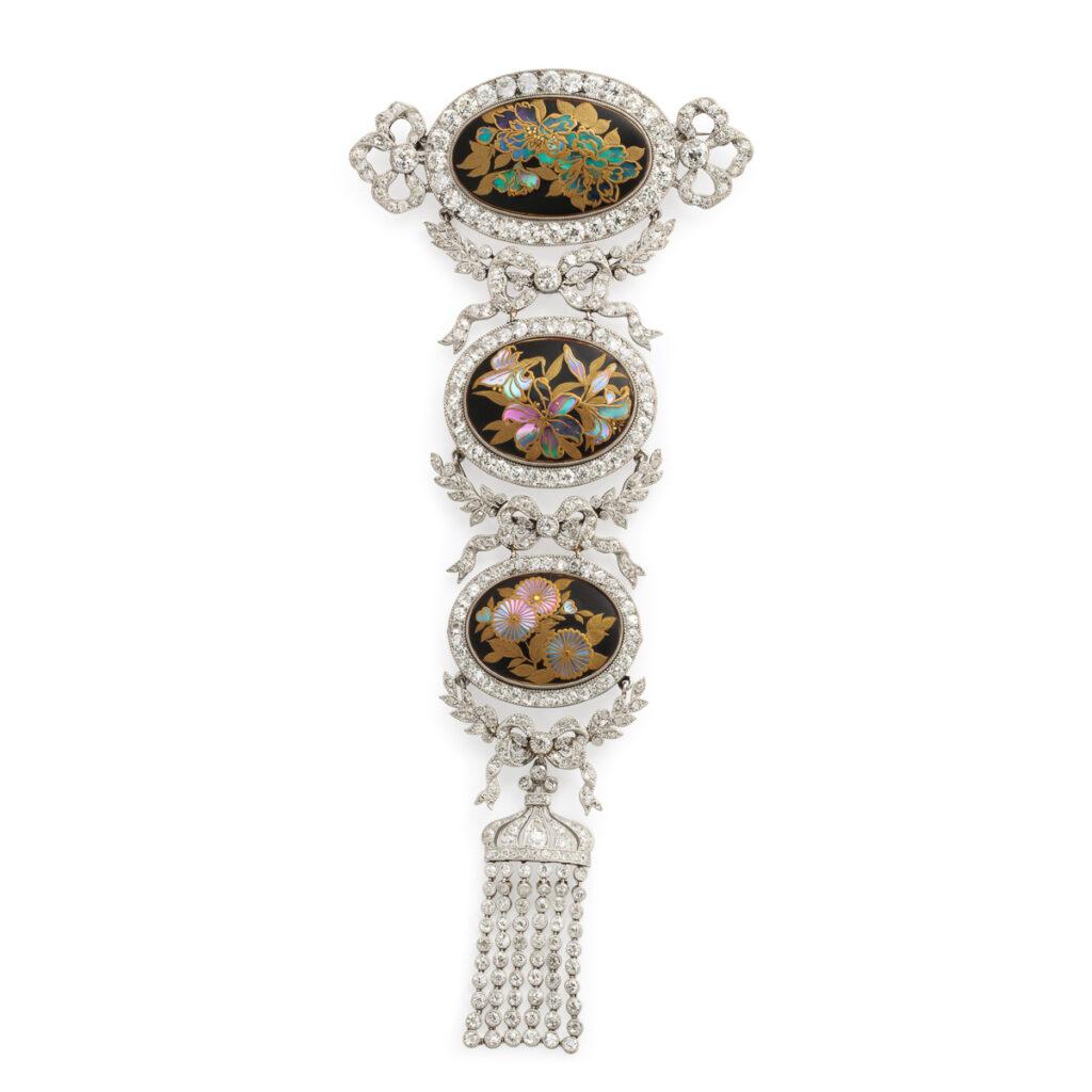 main view, Edwardian Jeweled Japonisme Corsage Pendant Brooch
