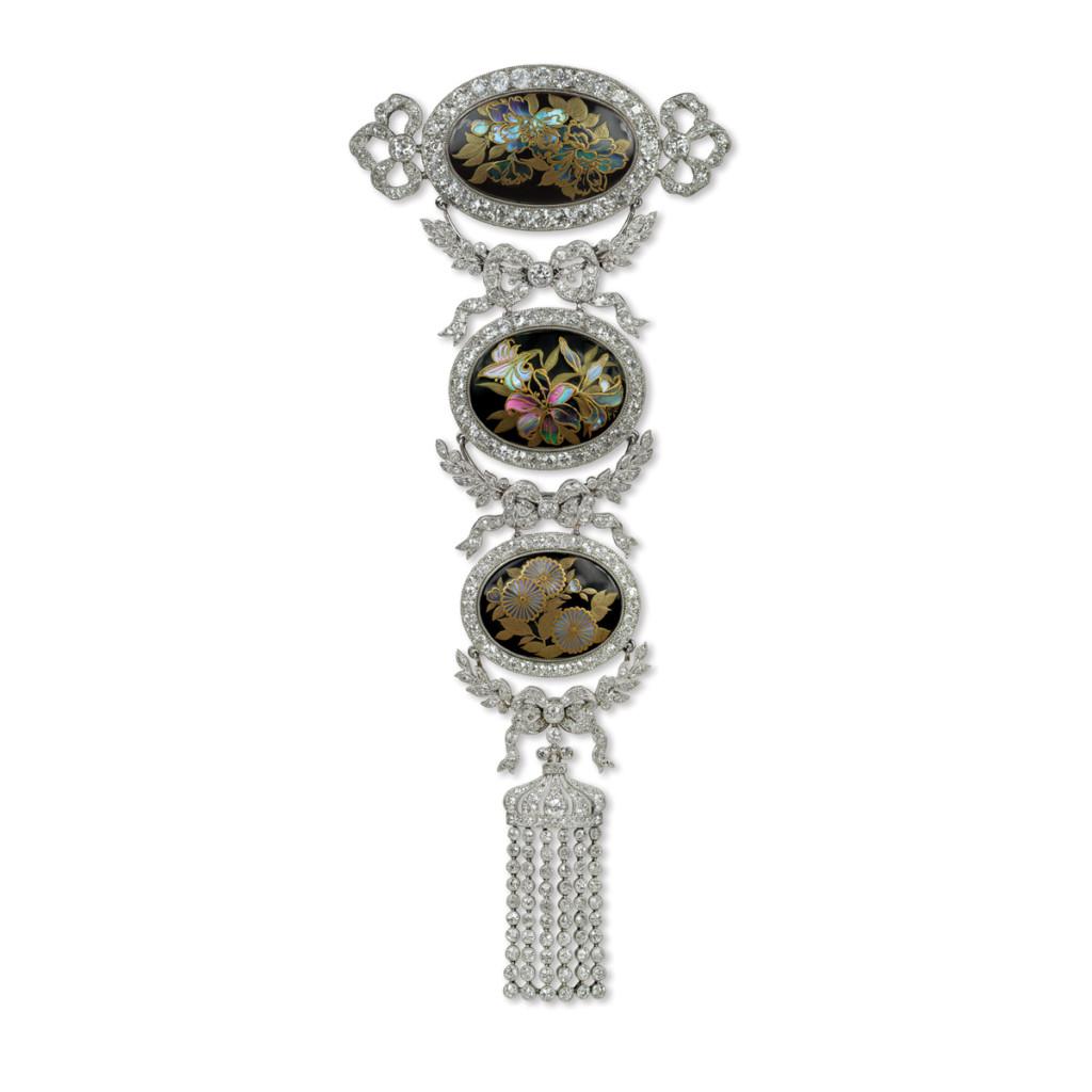 Edwardian Jeweled Japonisme Corsage Pendant Brooch