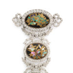 upper half detail view, Edwardian Jeweled Japonisme Corsage Pendant Brooch
